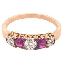Antique Victorian 5 Stone Diamond Ruby 18K Gold Ring