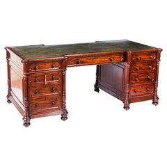Antique Victorian 6ft Flame Mahogany Partners Pedestal Desk 19th C