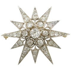 Antique Victorian 7.08 Carat Diamond Yellow Gold Star Brooch