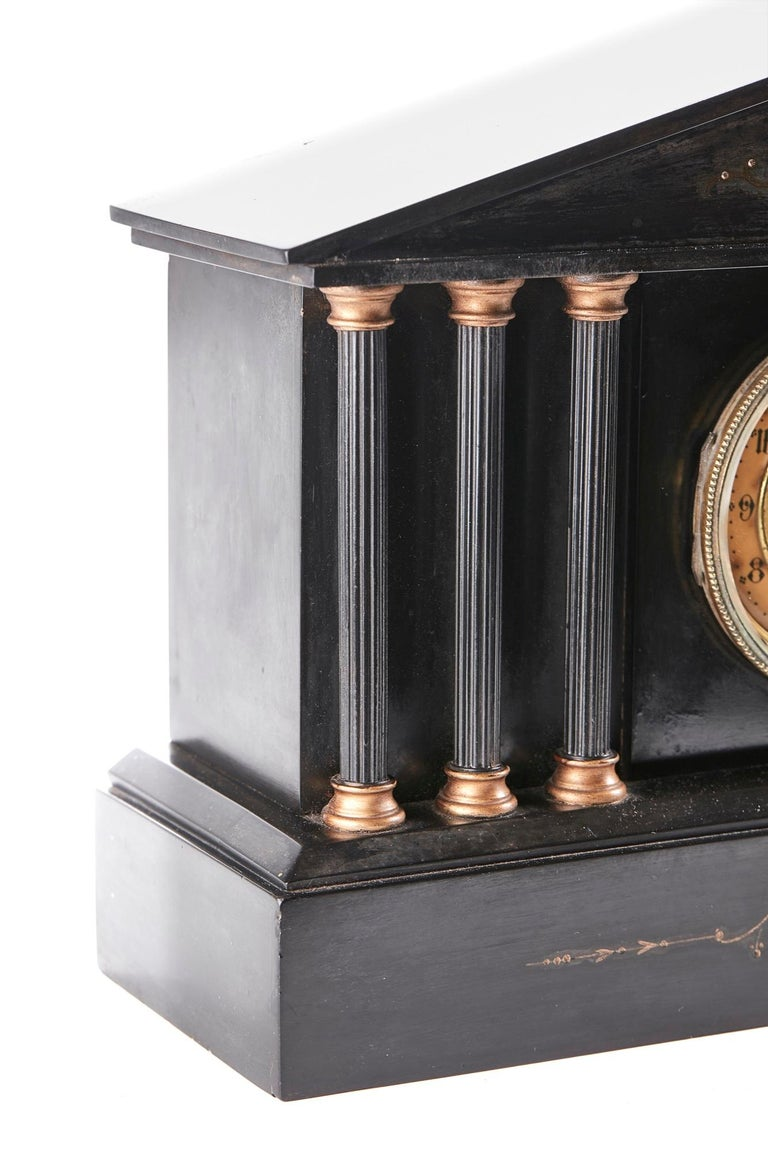19th Century Antique Victorian 8 Day Marble Mantle Clock For Sale