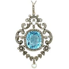 Antique Victorian 8.04 Carat Aquamarine and Diamond Yellow Gold Pendant/Brooch