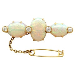 Antique Victorian 8.74 Carat Opal and Diamond Yellow Gold Brooch