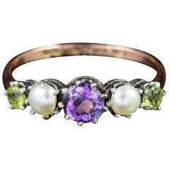 Antique Victorian 9 Carat Gold Silver circa 1900 Suffragette Ring