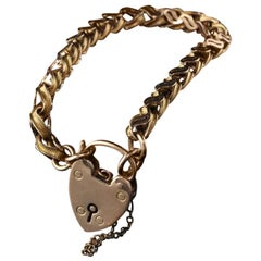 Antique Victorian 9 Karat Yellow Gold Heart Lock Bracelet