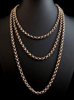 Antique Victorian 9 Karat Yellow Gold Longuard Chain, Belcher Link Necklace