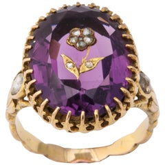Antique Victorian 9.5 Carat Amethyst and Diamond Ring