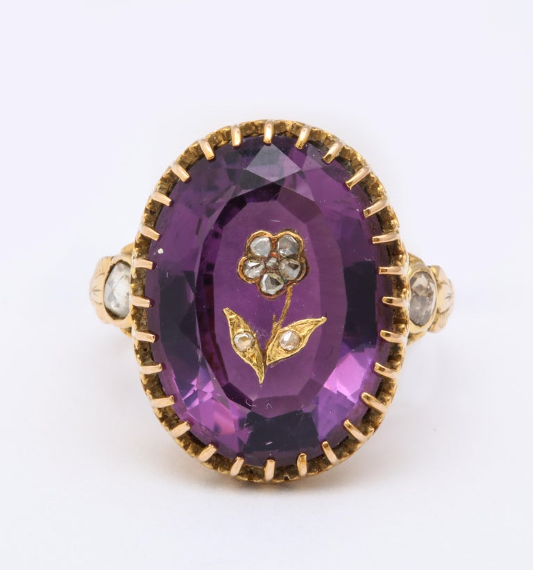 Late Victorian Antique Victorian 9.5 Carat Amethyst and Diamond Ring For Sale