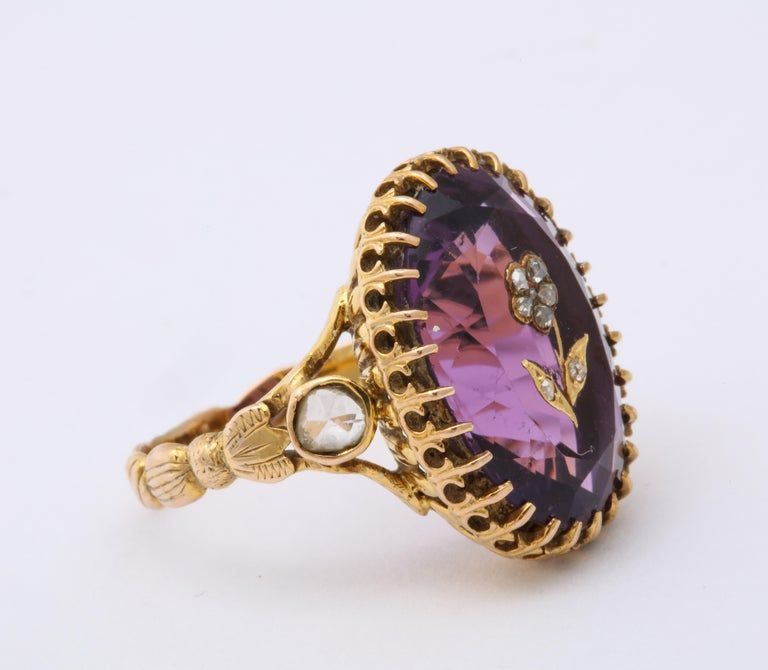 Women's Antique Victorian 9.5 Carat Amethyst and Diamond Ring For Sale