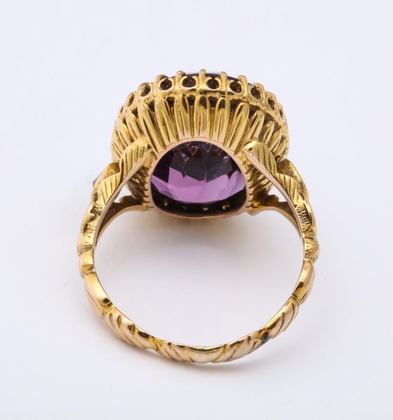 Antique Victorian 9.5 Carat Amethyst and Diamond Ring For Sale 4