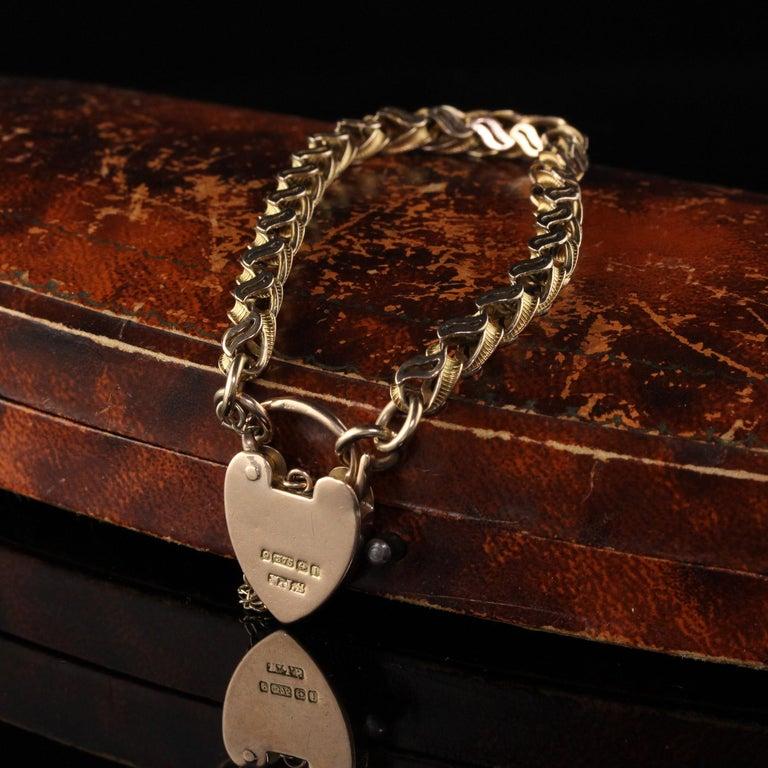 Women's Antique Victorian 9 Karat Yellow Gold Heart Lock Bracelet For Sale