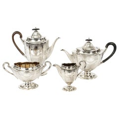 Antique Victorian Adam Revival Silver Plated Tea & Coffee Set, 19th Century