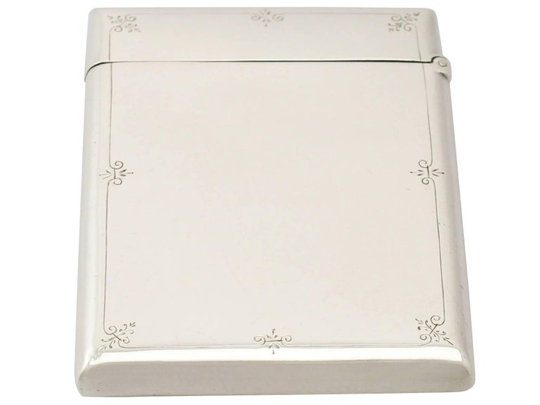 English Antique Victorian Aesthetic Style Sterling Silver Card Case  For Sale