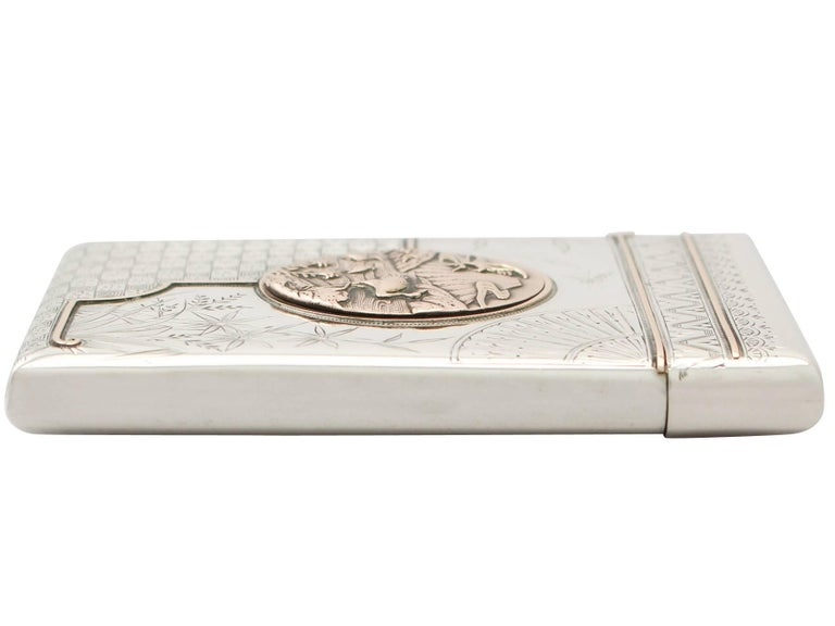 Antique Victorian Aesthetic Style Sterling Silver Card Case  In Excellent Condition For Sale In Jesmond, Newcastle Upon Tyne
