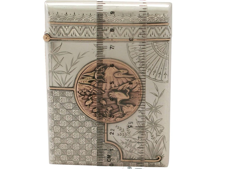 Antique Victorian Aesthetic Style Sterling Silver Card Case  For Sale 5