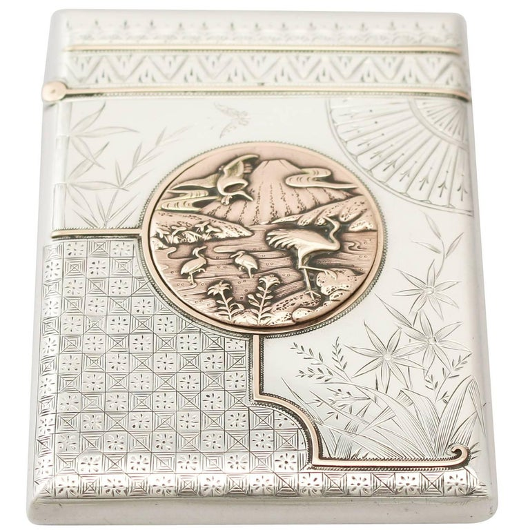 An exceptional, fine and impressive antique Victorian English sterling silver card case made in the Aesthetic style; an addition to our range of silver boxes and cases.  This exceptional antique sterling silver card case has a rectangular form