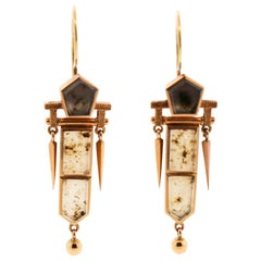 Antique Victorian American 14 Karat Yellow Gold Moss Agate Dart Earrings