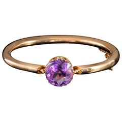 Antique Victorian Amethyst 8 Carat Amethyst 18 Carat Gold Bangle, circa 1880