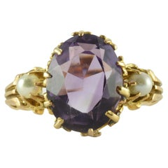 Antique Victorian Amethyst and Seed Pearl Ring