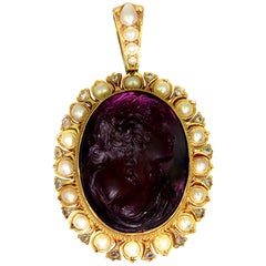 Antique, Victorian, Amethyst Cameo Pendant with Natural Pearl and Diamonds