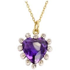 Antique Victorian Amethyst Diamond Purple Heart Pendant Necklace