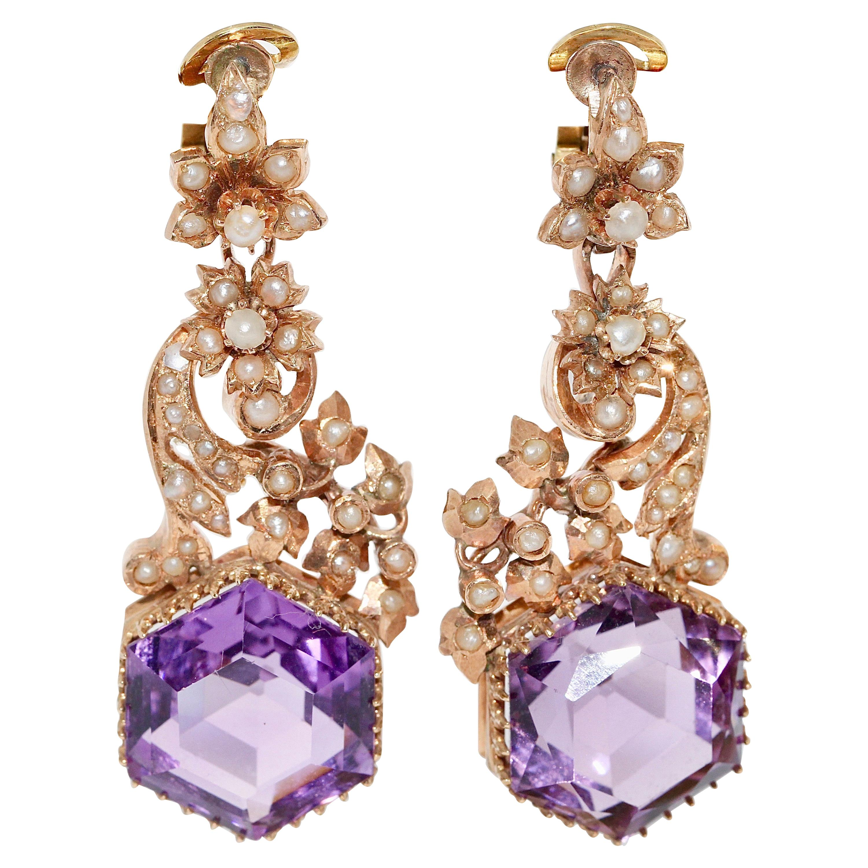 Antique Victorian Amethyst Earrings with Natural Pearls, 14 Karat Rose Gold