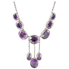 Antique Victorian Amethyst Silver circa 1900 Necklace