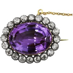 Antique Victorian Amethyst and Old European Cut Diamond Oval Cluster Brooch