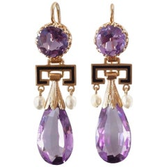 Antique Victorian Amethyst Pearl Enamel Gold Drop Earrings, France, 1860s-1870s