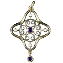 Antique Victorian Amethyst Pearl Pendant 9 Carat Gold, circa 1900