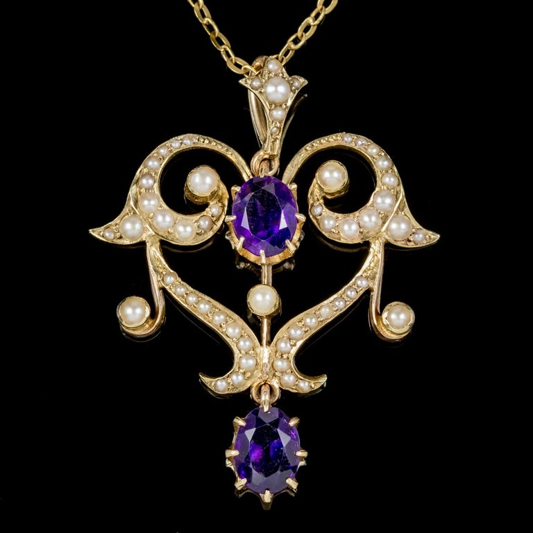 Antique Victorian Amethyst Pearl Pendant Necklace 9 Carat Gold, circa 1880 In Excellent Condition For Sale In Lancaster, Lancashire