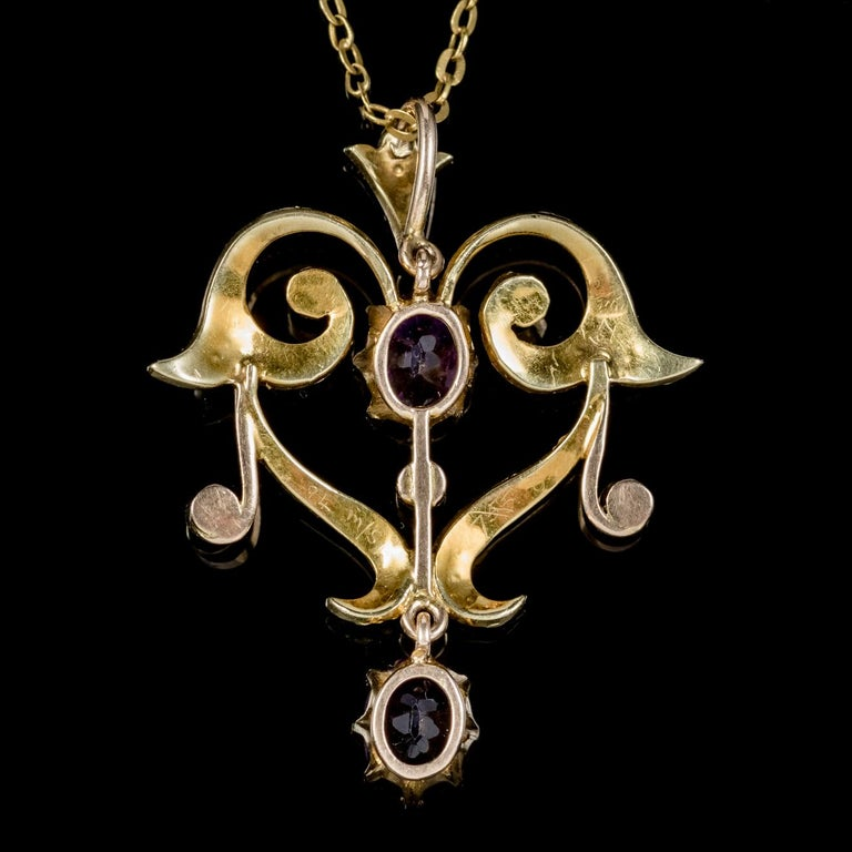 Women's Antique Victorian Amethyst Pearl Pendant Necklace 9 Carat Gold, circa 1880 For Sale