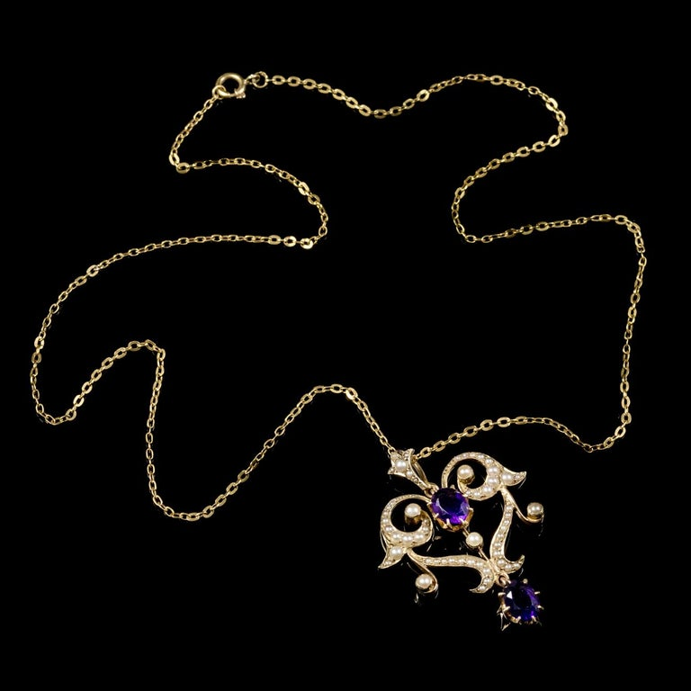 Antique Victorian Amethyst Pearl Pendant Necklace 9 Carat Gold, circa 1880 For Sale 2