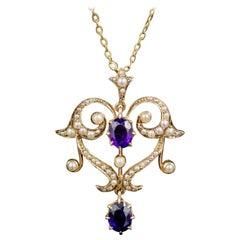 Antique Victorian Amethyst Pearl Pendant Necklace 9 Carat Gold, circa 1880