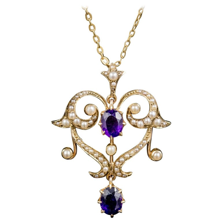 Antique Victorian Amethyst Pearl Pendant Necklace 9 Carat Gold, circa 1880 For Sale