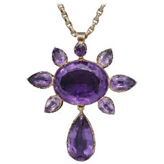 Antique Victorian Amethyst Pendant Necklace 15 Carat Gold Chain, circa 1900