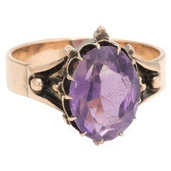 Antique Victorian Amethyst Ring 14k Rose Gold Cocktail Statement Jewelry 7.25