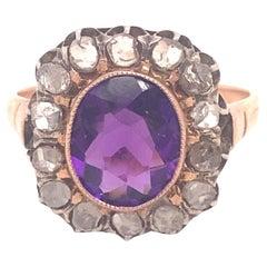 Antique Victorian Amethyst Rose Cut Diamond 18K Gold Ring