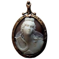 Antique Victorian Apollo Belvedere Shell Cameo Pendant