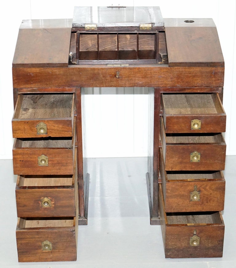 Antique Victorian Apprentice Workers Desk with Open Flap Top Lovely Little Piece For Sale 3