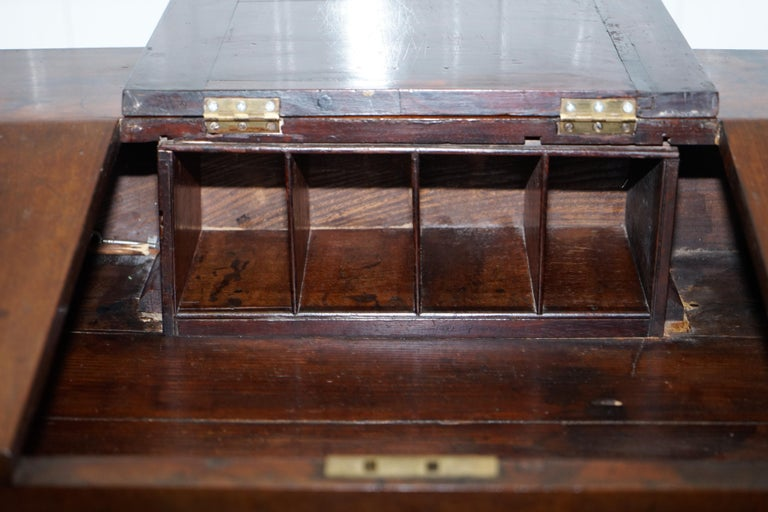 Antique Victorian Apprentice Workers Desk with Open Flap Top Lovely Little Piece For Sale 5