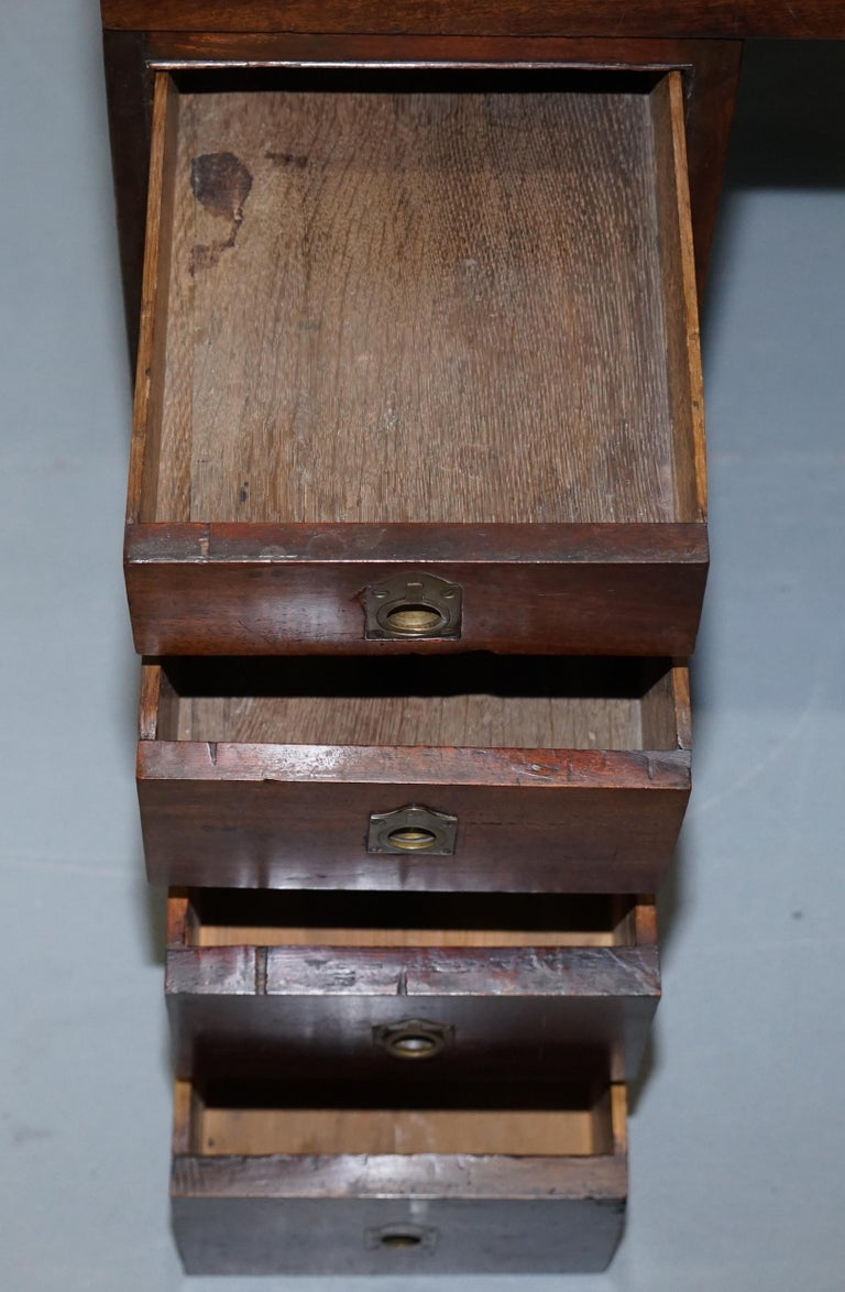Antique Victorian Apprentice Workers Desk with Open Flap Top Lovely Little Piece For Sale 6