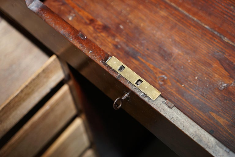 Antique Victorian Apprentice Workers Desk with Open Flap Top Lovely Little Piece For Sale 9