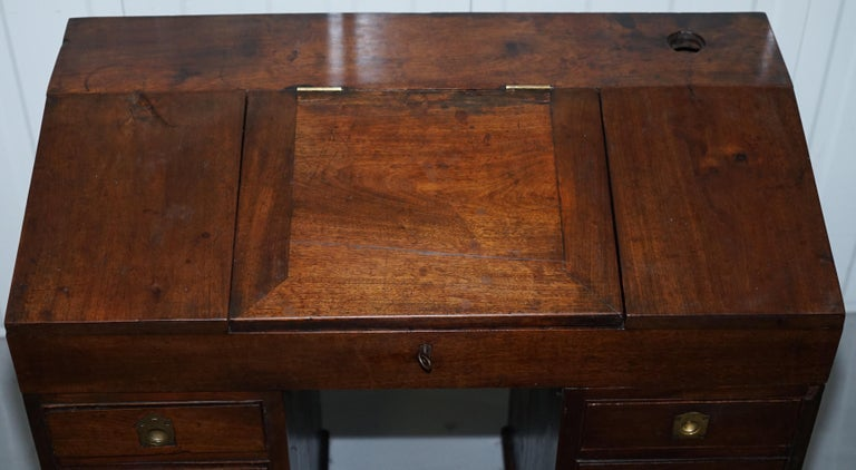 Hand-Carved Antique Victorian Apprentice Workers Desk with Open Flap Top Lovely Little Piece For Sale