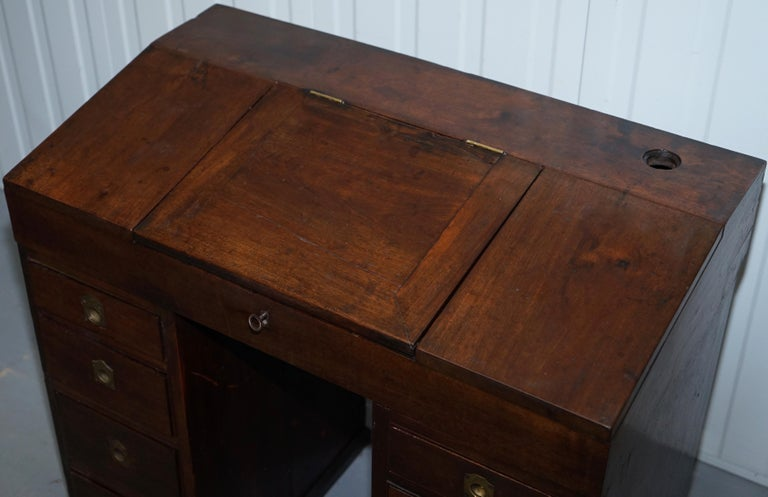 Antique Victorian Apprentice Workers Desk with Open Flap Top Lovely Little Piece In Fair Condition For Sale In London, GB