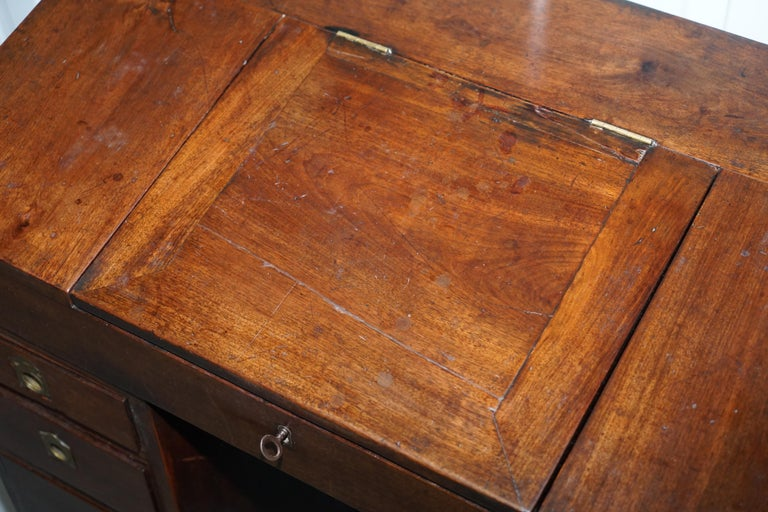 19th Century Antique Victorian Apprentice Workers Desk with Open Flap Top Lovely Little Piece For Sale