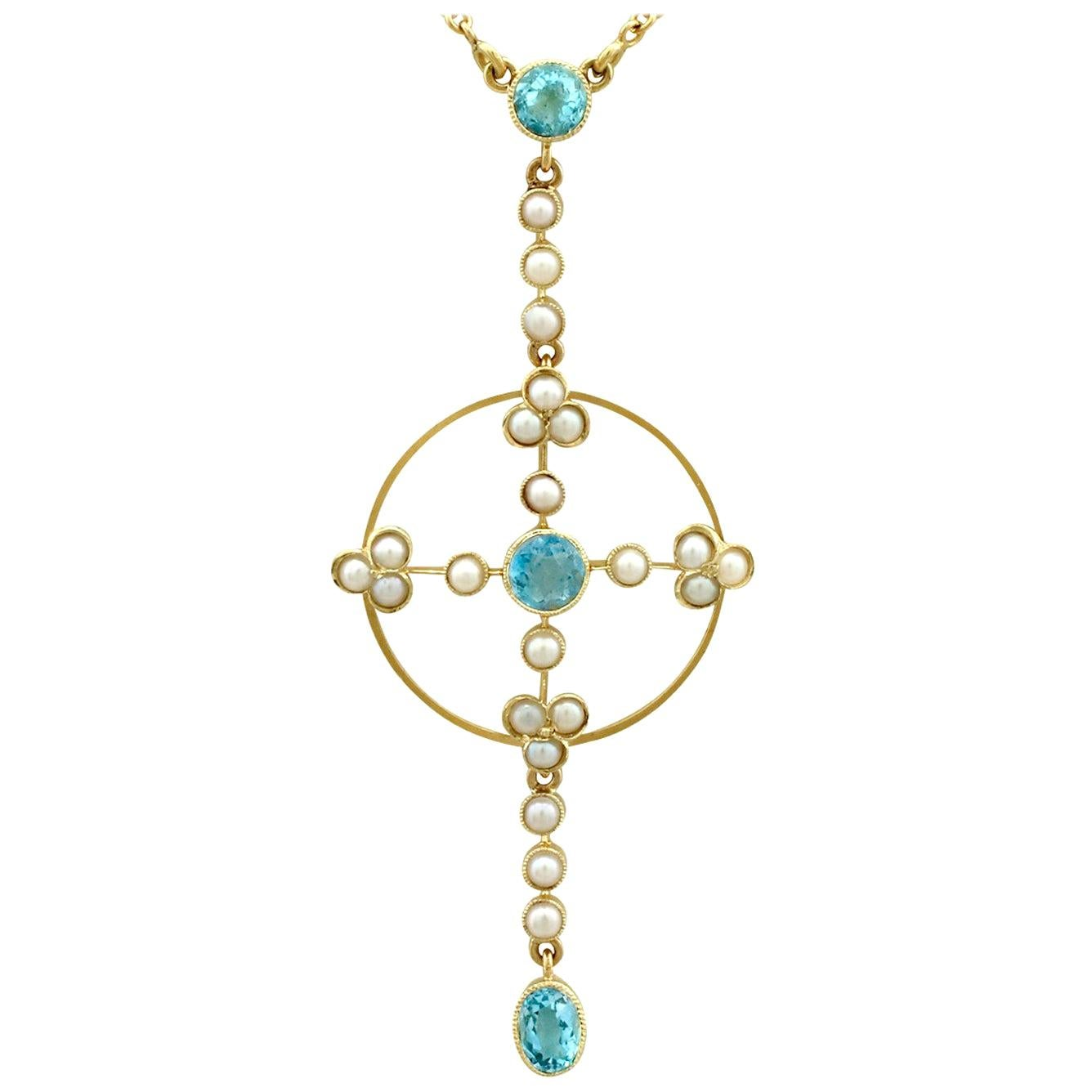 Antique Victorian Aquamarine and Pearl Yellow Gold Pendant, circa 1890