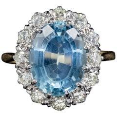 Antique Victorian Aquamarine Diamond Ring 18 Carat Gold Platinum, circa 1900