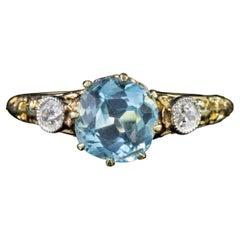 Antique Victorian Aquamarine Diamond Trilogy Ring 18ct Gold Circa 1900