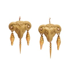 Antique Victorian Archaeological Revival Aries Ram's Head Earrings
