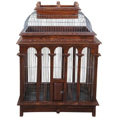 Antique Victorian Architectural Dome Top Wooden & Metal Wire Bird Cage